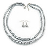 2 Strand Layered Grey Graduated Glass Bead Necklace and Drop Earrings Set - 50cm L/ 4cm Ext