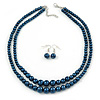 2 Strand Layered Inky Blue Graduated Glass Bead Necklace and Drop Earrings Set - 50cm L/ 4cm Ext