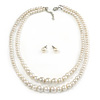 2 Strand Layered Cream Graduated Glass Bead Necklace and Stud Earrings Set - 50cm L/ 4cm Ext