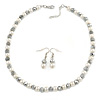 White Simulated Pearl & Hematite Glass Bead Necklace and Drop Earrings Set In Silver Tone - 40cm L/ 4cm Ext/ 8mm D