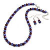 Deep Purple Glass Bead Necklace and Drop Earrings Set In Silver Tone - 40cm L/ 4cm Ext/ 8mm D