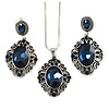 Victorian Inspired Dark Blue Crystal Filigree Pendant with Silver Tone Snake Chain and Drop Earrings In Aged Silver Tone Metal - 40cm L/ 4cm Ext