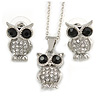 Clear/ Black Crystal Owl Pendant with Chain and Stud Earrings Set In Silver Tone - 40cm L/ 4cm Ext