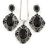 Victorian Inspired Black Crystal Filigree Pendant with Silver Tone Snake Chain and Drop Earrings In Aged Silver Tone Metal - 40cm L/ 4cm Ext