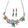 Multicoloured Enamel, Crystal Geometric Necklace and Drop Earrings In Rhodium Plating - 40cm L/ 7cm Ext
