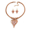 Romantic Crystal Heart Mesh Necklace and Stud Earrings Set In Rose Gold Metal (Pink) - 39cm L/ 8cm Ext - Gift Boxed