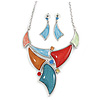 Multicoloured Enamel, Glass Geometric Necklace and Drop Earrings Set In Rhodium Plating Set - 42cm L/ 7cm Ext