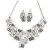 Grey Enamel Geometric Necklace and Drop Earrings In Rhodium Plating Set - 38cm L/ 8cm Ext