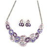 Pink/ Purple Crystal, Glittering Enamel Oval Cluster Necklace and Stud Earrings In Rhodium Plating - 40cm L/ 7cm Ext