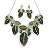 Statement Green Glass, Crystal Leaf Necklace and Drop Earrings Set In Rhodium Plating - 40cm L/ 8cm Ext