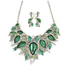 Stunning Green Crystal, Glass Leaf Necklace and Drop Earrings Set In Rhodium Plating - 41cm L/ 8cm Ext