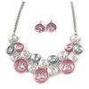 Pastel Enamel Pink/ Grey/ Metallic Silver Circle Cluster Necklace and Stud Earrings Set In Rhodium Plating - 41cm L/ 7cm Ext