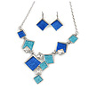Avant Garde Blue Enamel Geometric Square Station, Clear Crystal Necklace and Drop Earrings Set In Rhodium Plating - 42cm L/ 7cm Ext