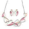 Romantic Multi Heart Necklace and Stud Earrings Set In Rhodium Plating (Pink) - 39cm L/ 8cm Ext - Gift Boxed