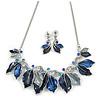 Blue Enamel, Crystal Multi Leaf Necklace and Drop Earrings Set In Rhodium Plating - 40cm L/ 6cm Ext