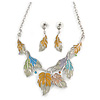 Pastel Enamel 'Spring Foliage' Floral Necklace and Drop Earrings Set In Rhodium Plating - 42cm L/ 8cm Ext