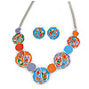 Multicoloured Enamel, Crystal 'Disks and Circles' Geometric Necklace and Drop Earrings In Rhodium Plating - 40cm L/ 7cm Ext
