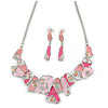 Pink Enamel, Crystal Geometric Necklace and Drop Earrings In Rhodium Plating - 40cm L/ 7cm Ext
