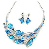 Matt Blue Enamel, Crystal Leaf Necklace and Drop Earrings In Rhodium Plating - 45cm L/ 7cm Ext