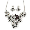 Romantic Enamel Flower and Butterfly Cluster Necklace and Stud Earrings Set In Rhodium Plating (Black/ Grey) - 40cm L/ 8cm Ext