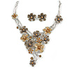 Brown/ Caramel Cluster Flower Necklace & Stud Earrings In Rhodium Plated Metal - 42cm L/ 8cm Ext