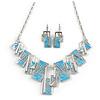 Light Blue/ Grey Enamel Geometric Necklace and Drop Earrings In Rhodium Plating Set - 38cm L/ 8cm Ext