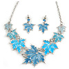 Light Blue Enamel Maple Leaf Necklace and Drop Earrings Set In Rhodium Plating - 41cm L/ 7cm Ext