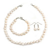 8-10mm Off Round White Freshwater Pearl Necklace, Bracelet and Drop Earrings Set In Silver Tone - 41cm L
