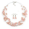 Light Pink Glass & Crystal Floating Bead Necklace & Drop Earring Set - 48cm L/ 5cm Ext