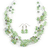 Light Green Glass & Crystal Floating Bead Necklace & Drop Earring Set - 48cm L/ 5cm Ext
