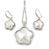 Stylish White Pearl Style Flower Pendant and Drop Earrings In Rhodium Plating (48cm Chain)