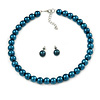 10mm Teal Glass Bead Choker Necklace & Stud Earrings Set - 37cm L/ 5cm Ext