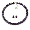 10mm Deep Purple Glass Bead Choker Necklace & Stud Earrings Set - 37cm L/ 5cm Ext
