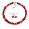 10mm Red Glass Bead Choker Necklace & Drop Earrings Set - 37cm L/ 5cm Ext