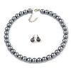 10mm Grey Glass Bead Choker Necklace & Stud Earrings Set - 37cm L/ 4cm Ext