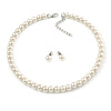 8mm Light Cream Glass Bead Choker Necklace & Stud Earrings Set - 37cm L/ 5cm Ext