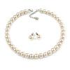 10mm Light Cream Glass Bead Choker Necklace & Stud Earrings Set - 37cm L/ 5cm Ext