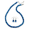 8mm Electric Blue Glass and Pearl Bead Necklace and Drop Earrings Set - 42cm L/ 5cm Ext