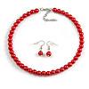 8mm Cranberry Red Glass Bead Choker Necklace & Drop Earrings Set - 37cm L/ 5cm Ext