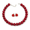 14mm Red Glass Bead Choker Necklace & Stud Earrings Set - 37cm L/ 5cm Ext