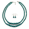 2 Strand Layered Pine Green Graduated Ceramic Bead Necklace and Drop Earrings Set - 52cm L/ 4cm Ext