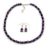 8mm Deep Purple Glass and Pearl Bead Necklace and Drop Earrings Set - 42cm L/ 5cm Ext