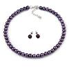 8mm Purple Glass Bead Choker Necklace & Stud Earrings Set - 37cm L/ 5cm Ext