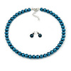 8mm Teal Glass Bead Choker Necklace & Stud Earrings Set - 37cm L/ 5cm Ext
