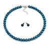 8mm Teal Glass Bead Choker Necklace & Stud Earrings Set - 37cm L/ 5cm Ext