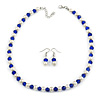 Sapphire Blue Glass Bead, White Glass Faux Pearl Neckalce & Drop Earrings Set with Silver Tone Clasp - 40cm L/ 4cm Ext
