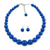 Imperial Blue Acrylic Bead Choker Style Necklace And Stud Earring Set In Silver Tone - 38cm L/ 5cm Ext