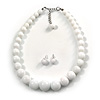 Snow White Acrylic Bead Choker Style Necklace And Stud Earring Set In Silver Tone - 38cm L/ 5cm Ext