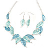 Matt Pastel Blue Enamel Leaf Necklace and Drop Earrings Set In Light Silver Tone Metal - 45cm L/ 7cm Ext