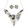 Matt Pastel Grey/ White Enamel, Clear Crystal Floral Necklace and Stud Earrings In Light Silver Tone - 45cm L/ 7cm Ext